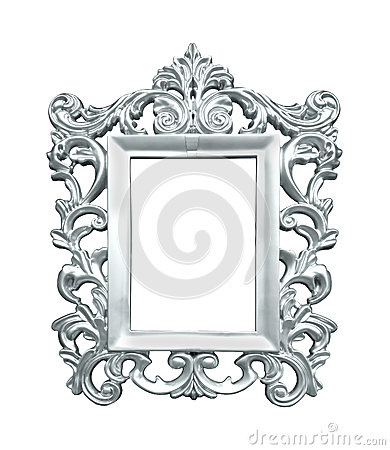 decorative silver frame isolated with clipping path included
