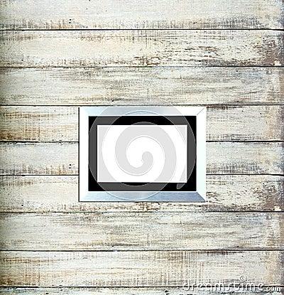 Silver Vintage picture frame on old wood