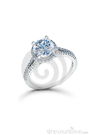 Silver Wedding or Engagement Ring with Blue Diamonds