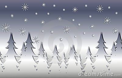 Silver Winter Xmas Tree Scene