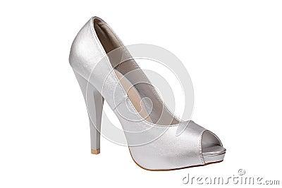 Silver women s heel shoe