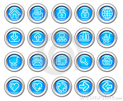Silvero glossy icon set: Website and Internet
