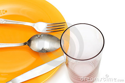 Silverware and glass isolated