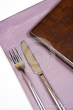 Silverware and menu