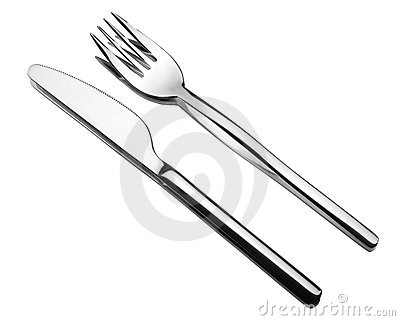Silverware on a mirror. Fork and knife.