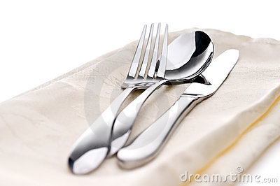 Silverware on a napkin