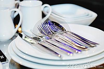 Silverware on plates