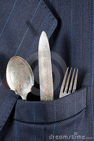 Silverware in a pocket