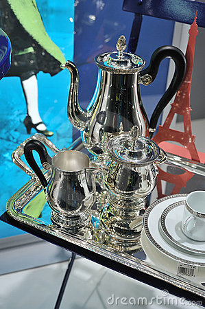 Silverware in showcase