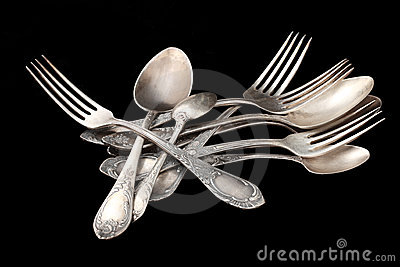 Silverware table silver over black