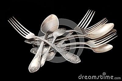 Silverware table silver over black