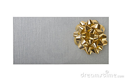 Silvery envelope with decoration gold bow