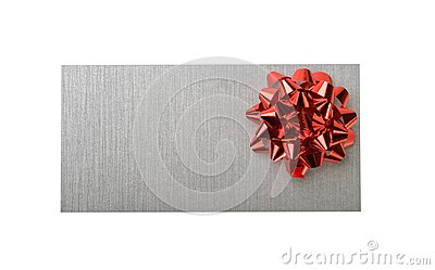 Silvery envelope with decoration red bow