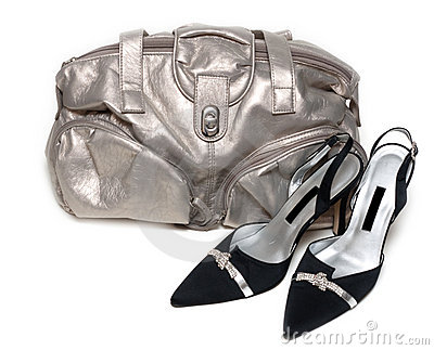 Silvery leather bag and pair of the loafer
