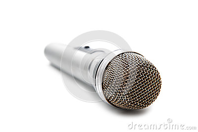 The silvery microphone  on a white