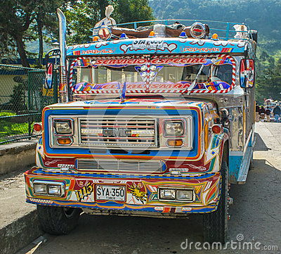 SILVIA, POPAYAN, COLOMBIA - November, 24: Colorful chiva bus in Editorial Photo