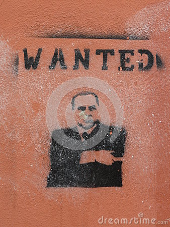 Silvio Berlusconi wanted - stencil Editorial Image