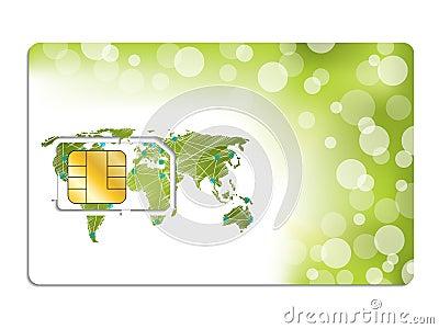 Sim card design with world map