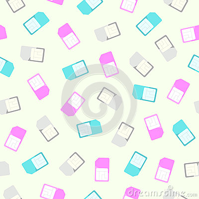 Sim card seamless pattern and background. Vector