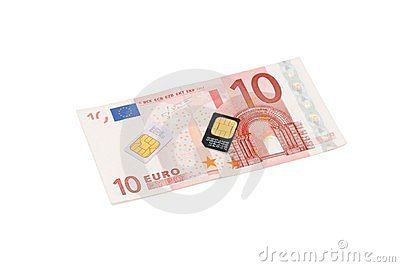 SIM cards for cellular phones on euro bill
