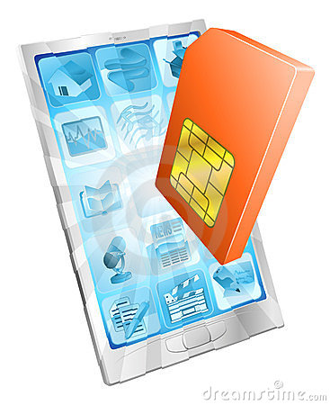 Sim för telefon för kortbegreppssymbol