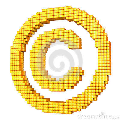 Simbolo del copyright pixelated giallo