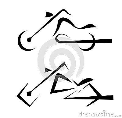 Insieme di simboli della motocicletta illustrazione nelle righe nere