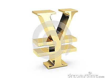 Simbolo dorato di Yen