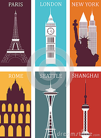 Simbols of famous cities.