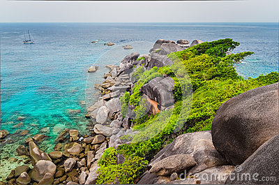 Similan island beautiful ocean coast view in Andaman Sea