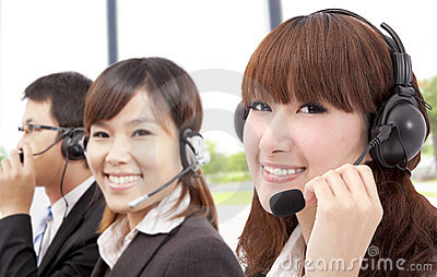 Similing business customer service team