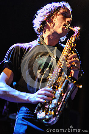 Simon Balthazar, saxophone player of Fanfarlo Editorial Photo