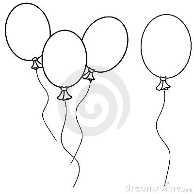 Simple Balloons Line Art