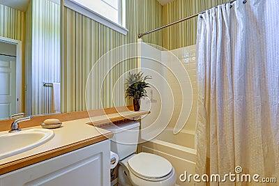 Simple bathroom interior with green wallpaper