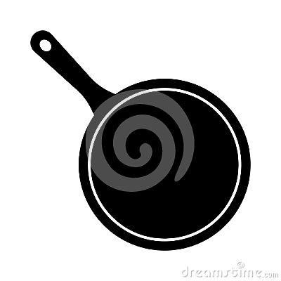 Free Simple, Black And White Cooking Pan/skillet Illustration. Isolated On White Royalty Free Stock Photo - 110864575