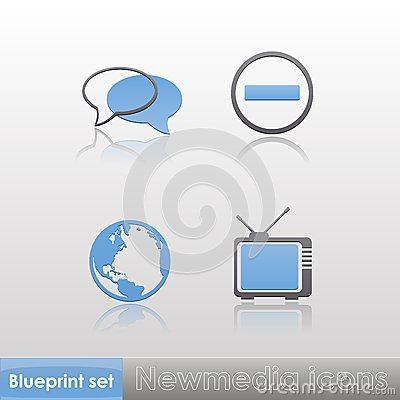Free Simple Blue-grey New Media (globe, Tv, Stop Sign, Talk) Icons With Reflection Isolated On Neutral Background. Vector Illustration. Royalty Free Stock Photo - 35097545