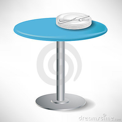 Simple blue round table with plates