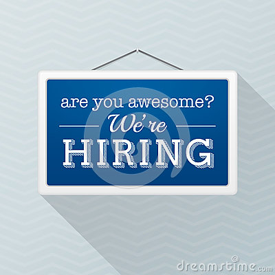 Free Simple Blue Sign With Text `we`re Hiring` Hanging On A Gray Office Wall. Human Resources, Employment Concept Royalty Free Stock Photo - 84790235