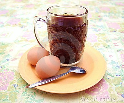 Simple breakfast of coffee and eggs