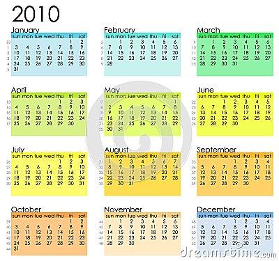 Simple calendar 2010