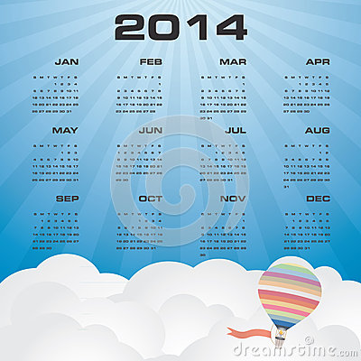 Simple calendar 2014 with beautiful sky background
