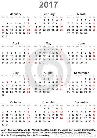 Usa Calendar 2017 Official Holidays Stock Photos, Images ...