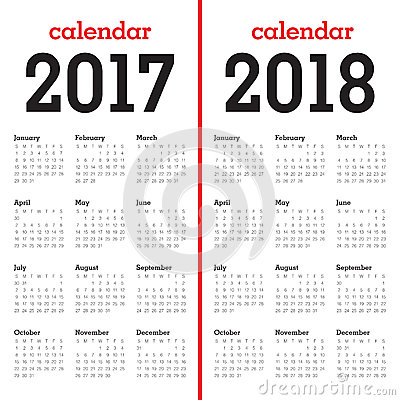 Simple Calendar Template For 2017 And 2018 Vector Illustration