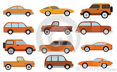 Simple cars collection Vector Illustration