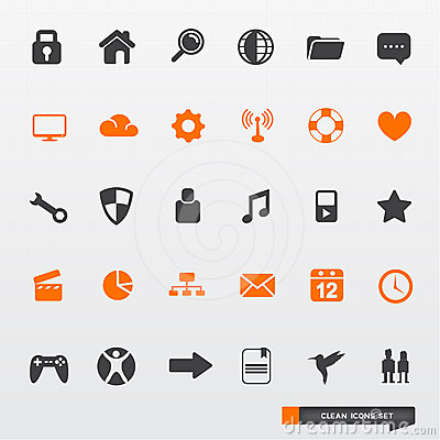 Free Simple & Clean Icon Set Royalty Free Stock Photography - 24317937