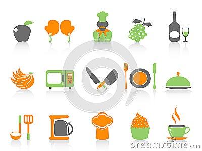 Simple color kitchen icons set