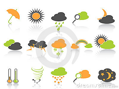 Simple color weather icons set