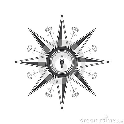 Free Simple Compass Rose (wind Rose) In The Style Of Historical Maps. Stock Images - 37153414