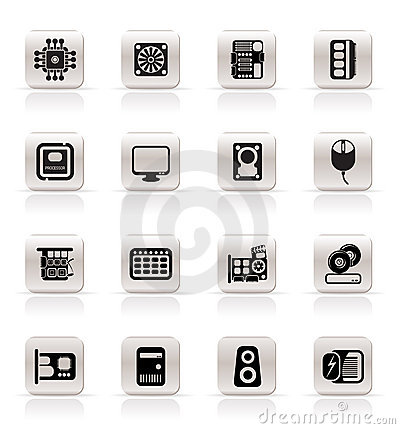 Simple Computer  Performance and Equipment Icons