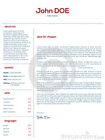 Simple Cover Letter Design For Resumes Stock Vector - Image: 53951057